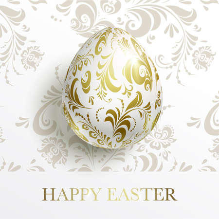 White Happy Easter card. Egg with a golden floral pattern