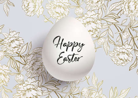 Happy Easter card. Background of a golden floral pattern