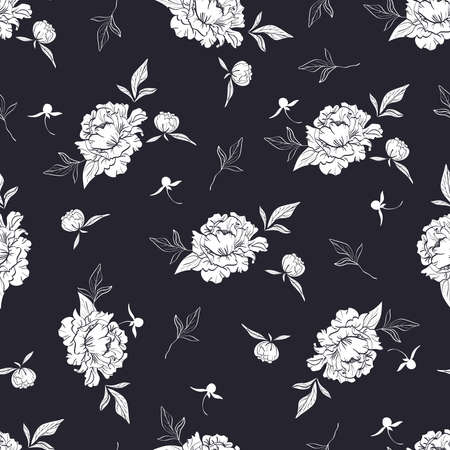 seamless black and white pattern with peonies and leaves