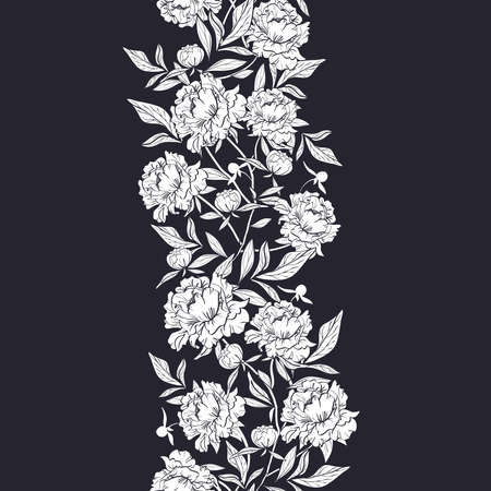 Seamless vertical garlands with white peonies on black