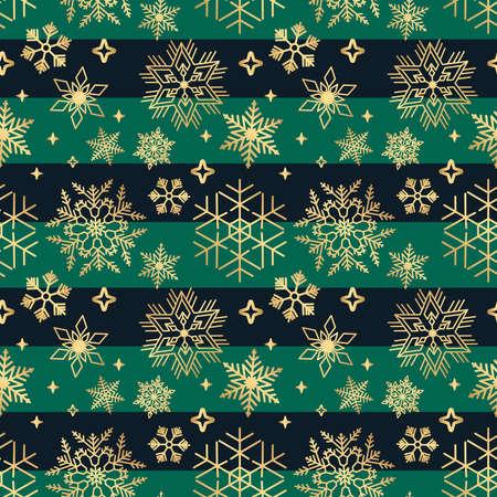 Horizontal seamless Christmas pattern with Golden snowflakes