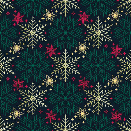 Seamless Christmas pattern richly decorated with snowflakes