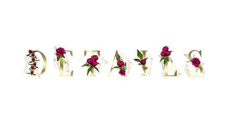The Details label. Inscription for Greeting card design. Floral design.