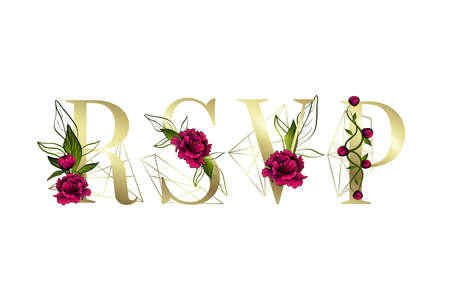 Inscription of RSVP for Greeting card design. Floral decor. Ilustracja