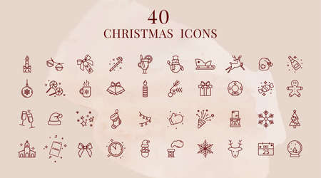 A set of linear Christmas icons. New Year symbols.