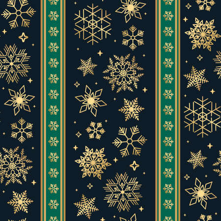 Seamless ribbon with Christmas golden snowflake pattern