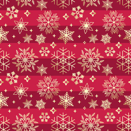 Red Seamless ribbon with golden Christmas snowflake pattern Ilustracja