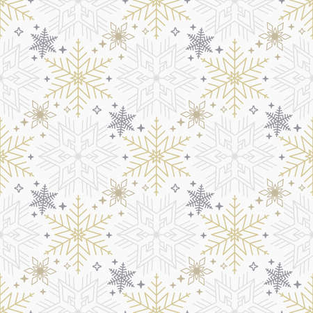 Seamless Christmas background with scattered gold and gray snowflakes Ilustracja