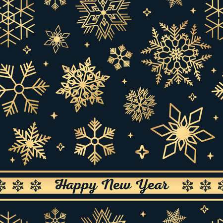 Black Christmas seamless pattern with golden snowflakes