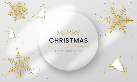 White realistic 3d postcard. Merry Christmas and Happy New Year