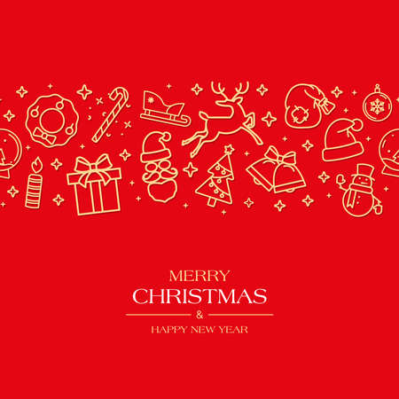 Red Christmas card or horizontal banner with holiday icons. Ilustracja