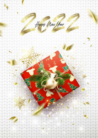 Congratulations on the New Year 2022. White card