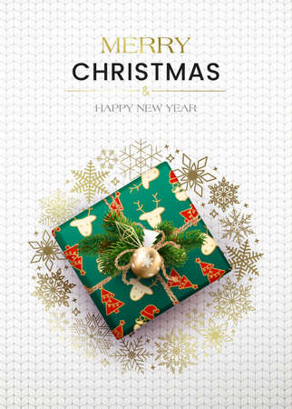Merry Christmas greetings. Poster with a gift box and a wreath of snowflakes