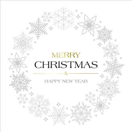 snowflakes with text Merry Christmas and Happy New Year
