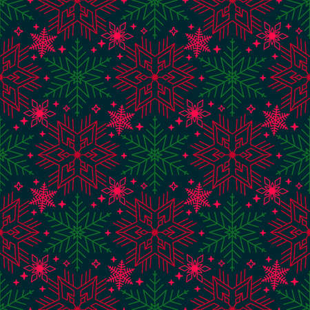 bright christmas seamless pattern with different snowflakes