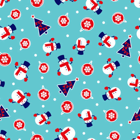 Christmas background with snowmen trees and red balls