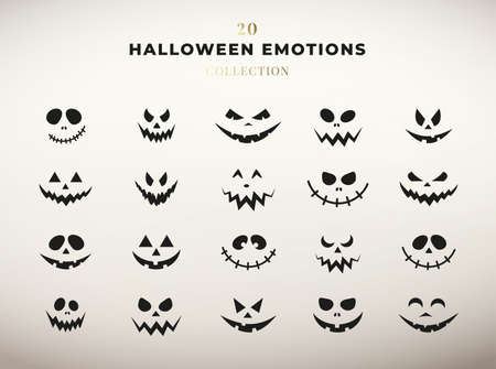Halloween emotions collection. Set of pumpkin faces. Ilustracja