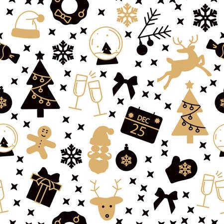 Black and gold new year seamless pattern Ilustracja