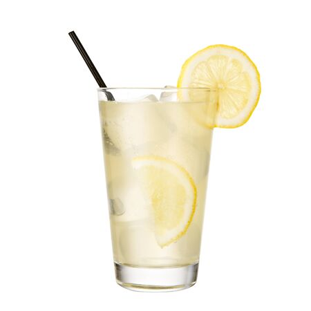 gin and tonic with lemon isolated on white background