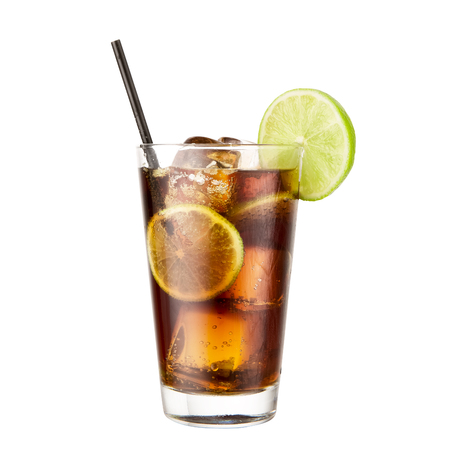 Cocktail Coca Cola lime isolated on white background classic alcohol cocktail Stock Photo