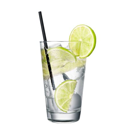 gin and tonic with lime isolated on white background classic alcohol cocktail 免版税图像