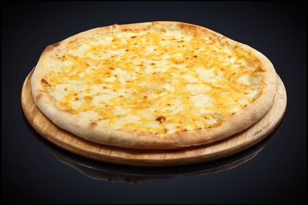 Four Cheese Pizza, mozzarella, cheddar, cream on a black background