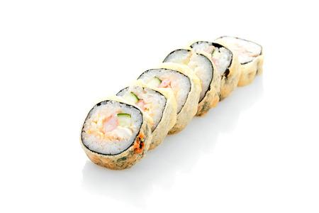 Hot roll Hamachi tempura, salmon, leeks, cream cheese, on a white background Stock Photo