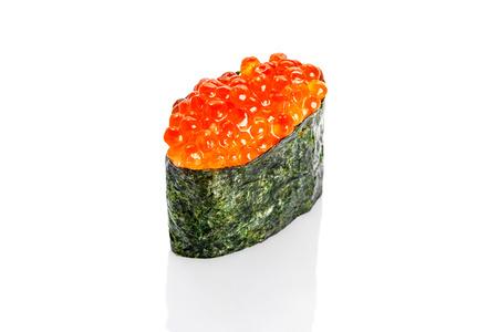 susi: Gunkan Sushi with salmon caviar on white background