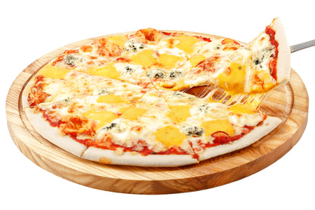 Four Cheese Pizza, mozzarella cheese Dorblu, cheddar cheese, parmesan cheese, isolated white background