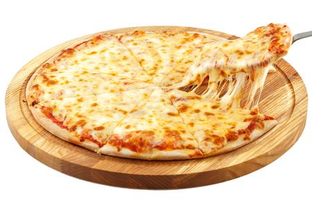Pizza Margherita, mozzarella isolated on white background