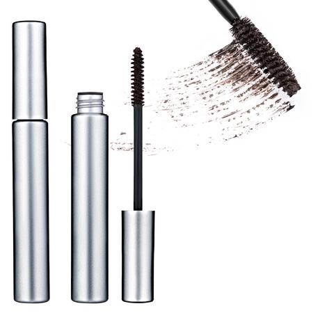 pestaÑas postizas: brown mascara, false eyelashes, isolated on white background