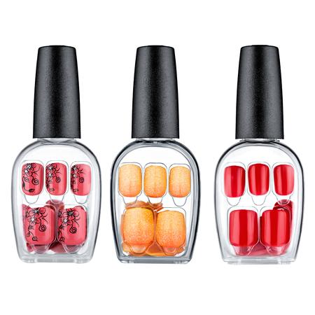 Set of multi-colored false nails, isolated on white background