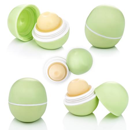 Lip Set Lippenbalsem, geïsoleerd op een witte achtergrond Stockfoto