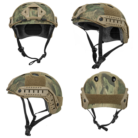 helm: Camouflage, green, khaki military helmet, isolated white background