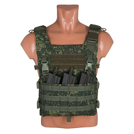 camouflage, military body armor, mannequin, isolated on white background Stock Photo