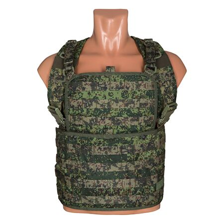 rebellion: camouflage, military body armor, mannequin, isolated on white background Stock Photo