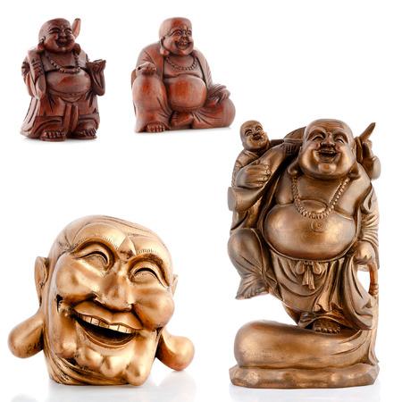 Wooden figurines, decorative figurines, buddha, monk, isolated white background