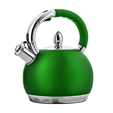 Green metal teapot, isolated on white background Stock Photo