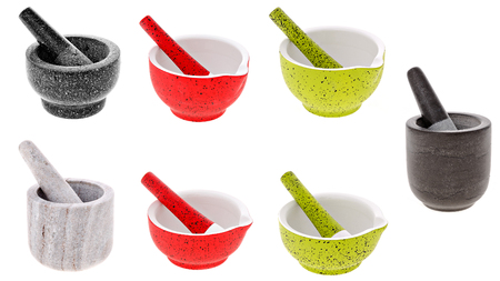 porcelain mortar and pestle isolated on white background