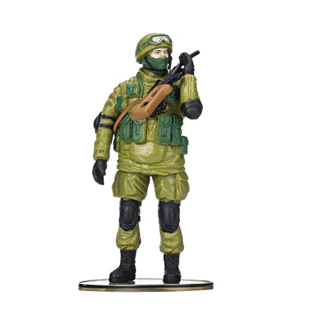 plastic soldier: Plastic soldier, military ammunition, on isolated white background