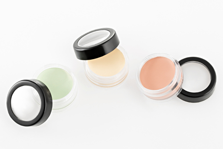 Color Cream Correctors palette, On isolated white background Stock Photo