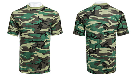 Mannequin in military T-shirt, camouflage shirt, isolated white background Stock Photo
