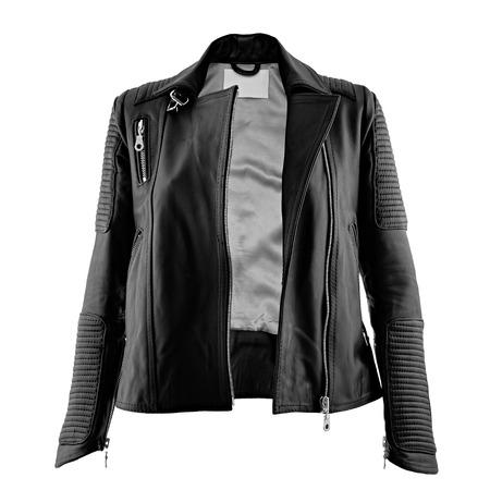 Female leather jacket on isolated white background