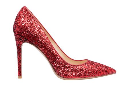 Vrouwen rode schoenen met glitter, geïsoleerde witte achtergrond Stockfoto - 79859658