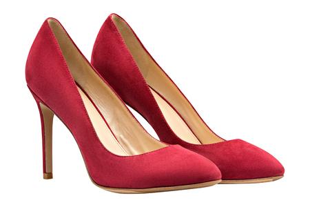 teknik: Kvinnlig svart mocka skor, isolerad på vit bakgrund