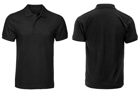 Black Polo shirt, clothes on isolated white background