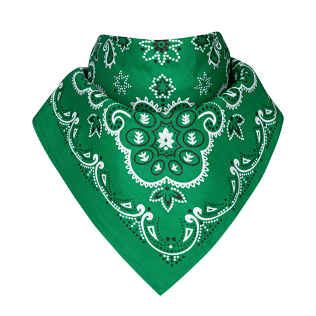 Green bandana, on a isolated white background Stock Photo