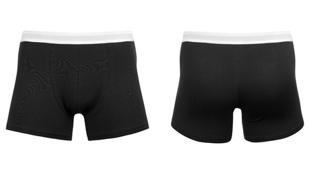 Mens red boxer briefs, on isolated white background