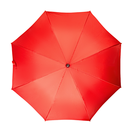 safe water: Red umbrella, on a isolated white background Stock Photo