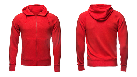 red hoodie, sweatshirt mockup, on white background